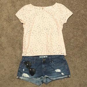 LOFT pink lace crochet blouse